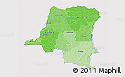 Political Shades 3D Map of Democratic Republic of the Congo, cropped outside