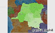 Political Shades 3D Map of Democratic Republic of the Congo, darken