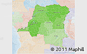 Political Shades 3D Map of Democratic Republic of the Congo, lighten