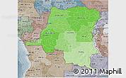 Political Shades 3D Map of Democratic Republic of the Congo, semi-desaturated