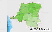 Political Shades 3D Map of Democratic Republic of the Congo, single color outside
