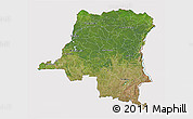 Satellite 3D Map of Democratic Republic of the Congo, cropped outside