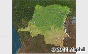 Satellite 3D Map of Democratic Republic of the Congo, darken