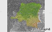 Satellite 3D Map of Democratic Republic of the Congo, desaturated