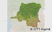 Satellite 3D Map of Democratic Republic of the Congo, lighten
