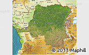 Satellite 3D Map of Democratic Republic of the Congo, physical outside, satellite sea
