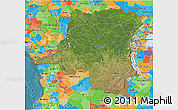 Satellite 3D Map of Democratic Republic of the Congo, political outside, satellite sea