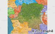 Satellite 3D Map of Democratic Republic of the Congo, political shades outside, satellite sea