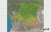 Satellite 3D Map of Democratic Republic of the Congo, semi-desaturated, land only