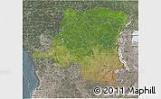 Satellite 3D Map of Democratic Republic of the Congo, semi-desaturated
