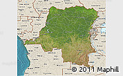 Satellite 3D Map of Democratic Republic of the Congo, shaded relief outside, satellite sea