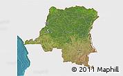 Satellite 3D Map of Democratic Republic of the Congo, single color outside