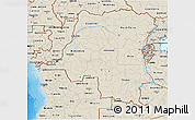 Shaded Relief 3D Map of Democratic Republic of the Congo