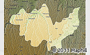 Physical Map of Gungu, darken
