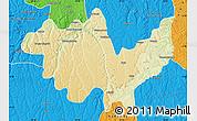 Physical Map of Gungu, political outside