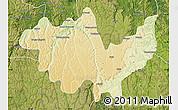 Physical Map of Gungu, satellite outside