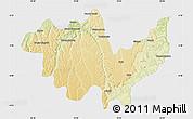 Physical Map of Gungu, single color outside