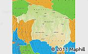 Physical Map of Kwilu, political outside