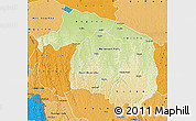 Physical Map of Kwilu, political shades outside