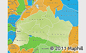 Physical Map of Mai-Ndombe, political shades outside