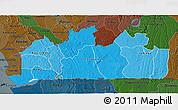 Political Shades 3D Map of Bas-Zaire, darken