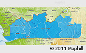 Political Shades 3D Map of Bas-Zaire, physical outside