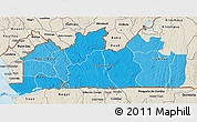 Political Shades 3D Map of Bas-Zaire, shaded relief outside