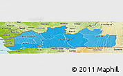 Political Shades Panoramic Map of Bas-Zaire, physical outside