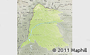 Physical Map of Equateur, semi-desaturated