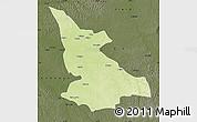 Physical Map of Ikela, darken