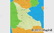 Physical Map of Ikela, political outside