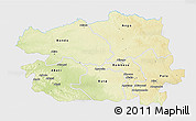 Physical 3D Map of Bas-Uele, single color outside