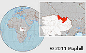 Gray Location Map of Dungu, highlighted grandparent region, hill shading