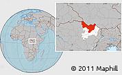 Gray Location Map of Dungu, highlighted parent region, hill shading