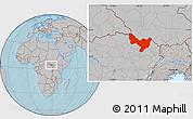 Gray Location Map of Dungu, hill shading