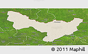 Shaded Relief Panoramic Map of Dungu, satellite outside