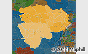 Political Shades Map of Haut-Zaire, darken