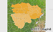 Political Shades Map of Haut-Zaire, satellite outside