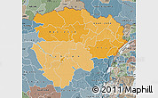 Political Shades Map of Haut-Zaire, semi-desaturated