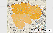 Political Shades Map of Haut-Zaire, shaded relief outside