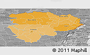 Political Shades Panoramic Map of Haut-Zaire, desaturated