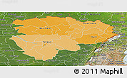 Political Shades Panoramic Map of Haut-Zaire, satellite outside