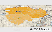 Political Shades Panoramic Map of Haut-Zaire, shaded relief outside