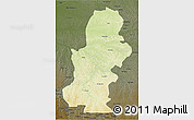 Physical 3D Map of Kasai, darken