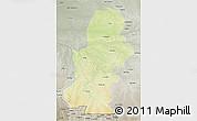 Physical 3D Map of Kasai, semi-desaturated