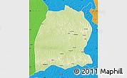 Physical Map of Dekese, political outside