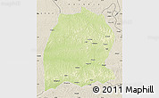 Physical Map of Dekese, shaded relief outside