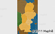 Political Shades Map of Kasai, darken