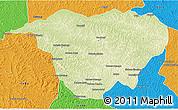 Physical 3D Map of Mweka, political outside