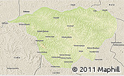 Physical 3D Map of Mweka, shaded relief outside